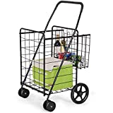Goplus Folding Shopping Cart Jumbo Double Basket Perfect for Grocery Laundry Book Luggage Travel with Swivel Wheels Utility Cart (Black)
