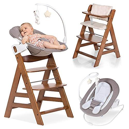 Hauck Alpha Plus Newborn Set Deluxe - Chaise Haute Bébé en Bois - Évolutive dès naissance - Inclus Transat pour nouveau-né, Coussin assise, Hauteur réglable - Noyer