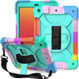 LTROP iPad 8th Generation Case, iPad 7th Generation Case, iPad 10.2 Case for Kids, 3-Layer Shockproof 10.2 iPad Case with Pencil Holder/Swivel Stand/Strap for Apple iPad 2020/2019 10.2 inch, Teal Blue