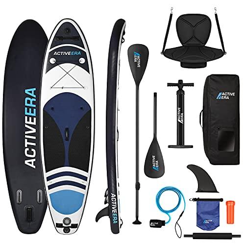 Active Era Tabla de Paddle Surf Hinchable 2 en 1. Convierte tu Tabla de Sup en Kayak con Remo Ajustable, Kit de reparación y Mochila de Transporte MAX 100 kg 320x78x15 cm