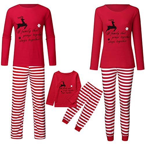 Christmas Family Pajamas Matching Sets Striped Jogger Pants Pj Sets - A Family That Prays Together Stays Together( Red, Kids / 80 )