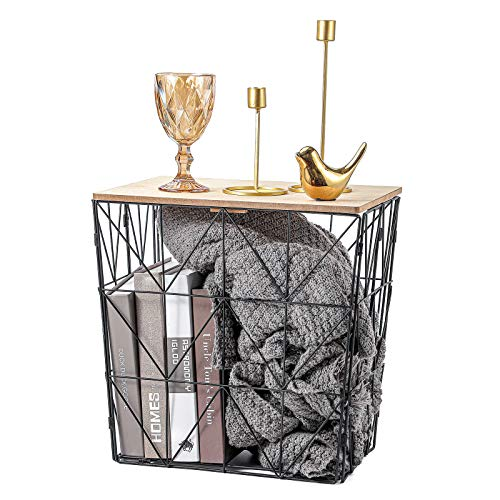TFER Side Table Nesting Coffee Tables Farmhouse Basket Movable End Table for Storage Decoration for Living Room, Bed Room, Kitchen (Black)