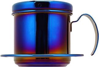 Koffiezetapparaat Pot, RVS Vietnamese Stijl Koffiezetapparaat Pot Koffie Drip Brewer voor Thuis Keuken Kantoor Buiten (Blauw)