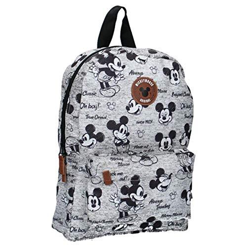 Mickey Mouse Never Out of Style   Mochila, con una imagen de tu héroe favorito   Ideal para los jóvenes aventureros   Gris - Talla Única
