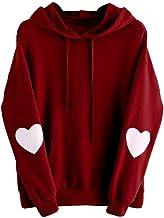 Xinantime Womens Casual Hoodies Long Sleeve Heart Print Hoodie Sweatshirt Jumper Hooded Pullover Tops Blouse