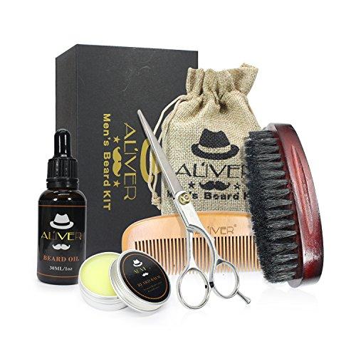 Beard Grooming Kit for Men Care, Includes Beard Oil, Beard Balm Butter Wax, Boar Bristle Beard Brush, Wood Comb, Mustache Trimming Scissors, Shaping & Styling Tool - Best Beard Growth Gift Set