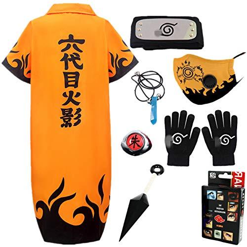STRDK Naruto Akatsuki Uzumaki Namikaze Minato Kakasi Cosplay Costume Vspera de Todos los Santos Navidad Partido Disfraz Capa Headband Anillo Guantes Mscara Shuriken Masculino Hembra Nio Armas Set