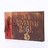 MINGZE Album de Fotos, Álbum de Fotos Hecho a Mano DIY Family Scrapbook Extensible, 26 x 18.6 cm 80 páginas con Postales Pegatinas de Esquina Caja de Embalaje, Our Adventure Book (Retro Style)