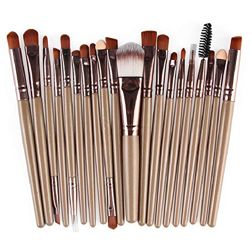 Makeup Brushes ZHIYE Make up Brush Set 20 PCs Professional Face Eyeliner for Foundation Blush Concealer Eyeshadow Light Brown