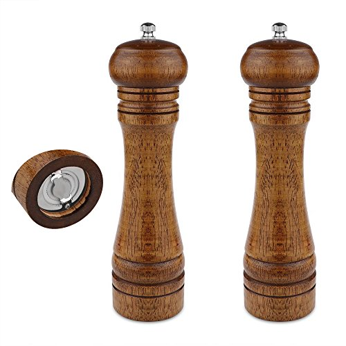 2PCS Salt and Pepper Grinder, Solid Wood Sea Salt and Pepper Shakers, Pepper Mill & Salt Mill With Adjustable Coarseness, Premium Spice Grinder Easy To Use 8 INCH, Ideal Gift for Parents & Friends
