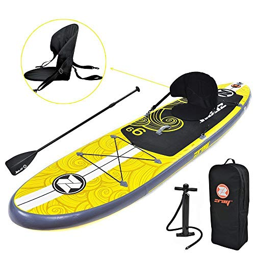 Zray Inflatable Paddle Board Stand Up SUP Comes with Adjustable Aluminum Paddle/High-Pressure Pump with Gauge/Big Durable Backpack (X1)