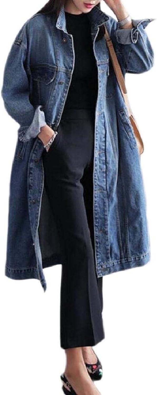 Xswsy XGCA Womens Long Jean Washed LongSleeved Gorgeous PlusSize Denim Coat