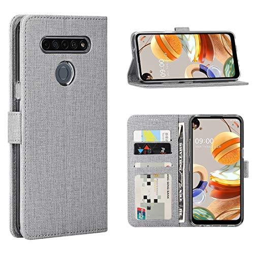 FUNMAX+ LG K61 Hülle, PU Leder Handyhülle mit 3 Kartenfächer, Schutzhülle Hülle Tasche Magnetverschluss Flip Cover Stoßfest für LG K61 Smartphone (Grau)