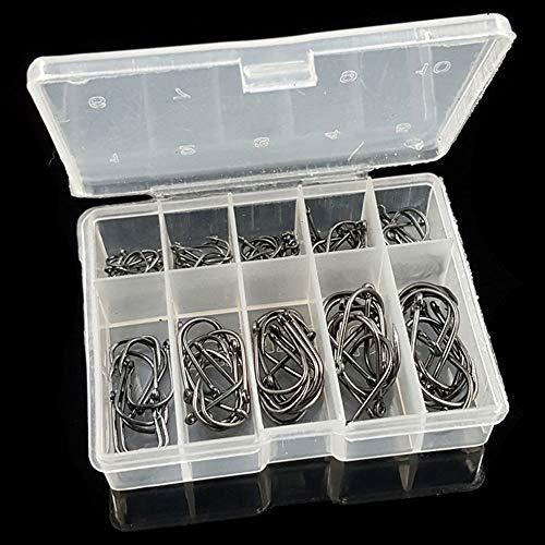 Rosepoem 100 Unids/Caja Premium Fishhooks 10 Tallas Ganchos de Pesca de Acero al Carbono, Fuerte Anzuelo con púas para el Agua de mar de Agua Dulce, Negro