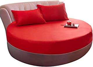 Adeeing Fitted Sheet, Round Cotton Bed Cover Mattress Topper for Wedding Decoration, 86.6 inches (Red)