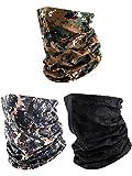 3 Pieces Men's Neck Gaiter Summer Winter Sunscreen Neck Gaiter Lightweight Face Mask for Outdoor Activities (Black, Army Green, Khaki (Camouflage))