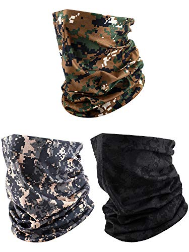 3 Pieces Men's Neck Gaiter Summer Winter Sunscreen Neck Gaiter Lightweight Face Mask for Outdoor Activities (Black, Army Green, Khaki (Camouflage))