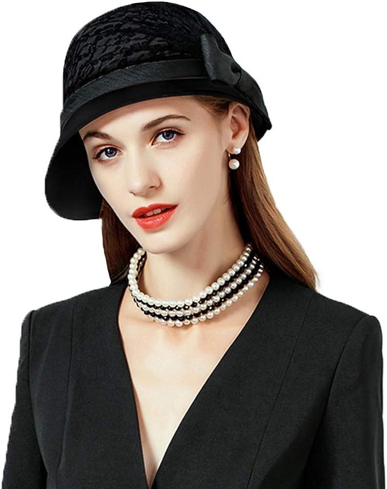 FADVES Lace Fedora Fascinators Hat Vintage Wedding Church Derby Hats Bowknot