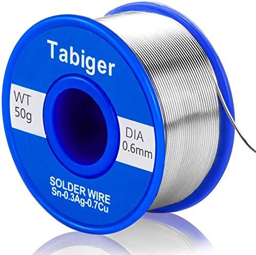 Tabiger Lötdraht, 0,6 mm bleifreier Lötdraht mit 97Sn-2Rosin-0,7Cu-0,3A, 0,6 mm, 50 g Lötzinn für elektrisches Löten