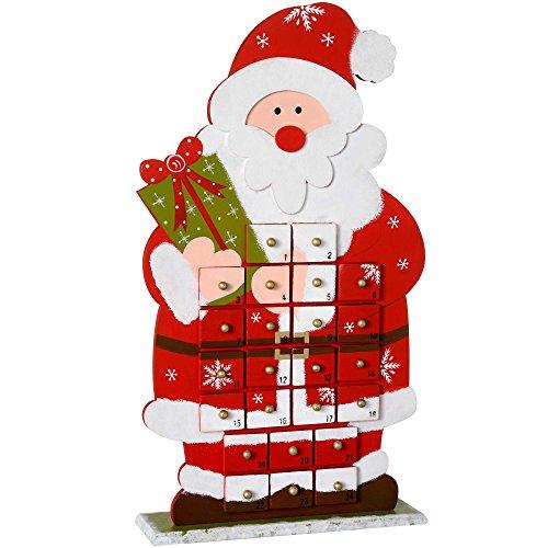 WeRChristmas Calendrier de l'Avent Père Noël en Bois Décoration de Noël, Multicolore, 45 cm