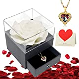 Mothers Gifts Rose Flower Gifts- Preserved Flower Rose 6 in 1 Gift Pack Handmade Fresh Flower Rose with Angel Wing Love Heart Necklace Gift for Mother's Day Anniversary Birthday(White)