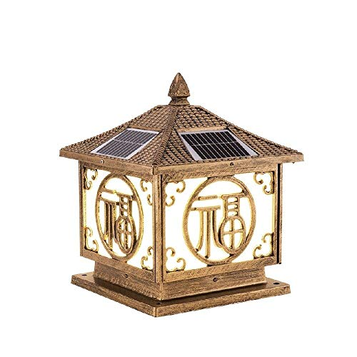 KMYX Place Porche LED solaire Lampe de table Outdoor Blue Lantern panneau solaire Super Strong IP55 étanche Noté Extérieur Cour lampe porte lampe colonne (Color : Brass)