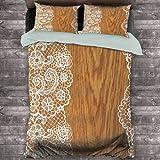 Toopeek Vintage Hotel Ropa de cama de lujo Shabby Chic patrón de encaje sobre fondo rústico de madera femenina imagen retro poliéster – suave y transpirable (completo) claro caramelo blanco