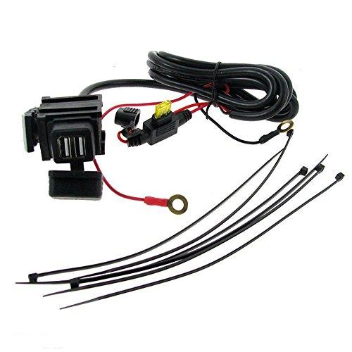 Meipire Cargador de coche para moto, 12-24 V CC, 3,1 A, doble USB, impermeable, para teléfono celular, navegador, walkie-talkie