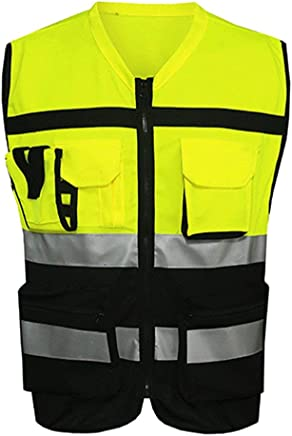 OWSOO 1 Giubbotti Catarifrangenti Cinghie Night Riding Riding Suit Riflettenti Gilet Di Sicurezza Regolabili Gilet Elastico Riflettente La-2027 Taglia Unica Verde Fluorescente