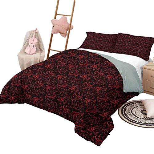 Rot und Schwarz dreiteilige Bettbezug-Sets viktorianisches Blumenmuster mit Ivy Swirls Flowers Design Bilddruck Drucken Bettwäsche Dekor Ruby Black Twin XL Größe