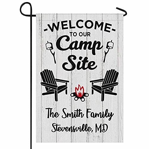 FunStudio Personalized Camper Camping Garden Flag Welcome to Our Campsite Rv Flag for Outdoor Yard House Banner Home Lawn Welcome Decoration 12.5' X 18' Double Sided