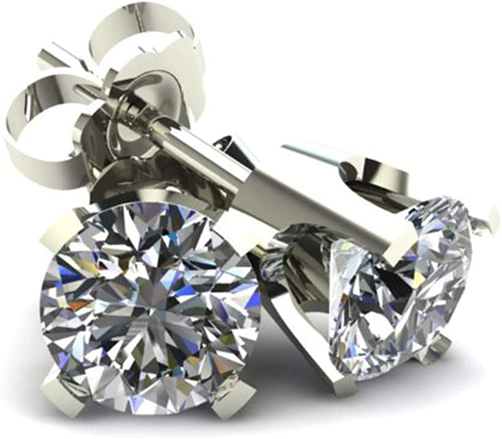 3/8Ct Round Brilliant Cut Diamond Stud Earrings in 14K Classic Setting
