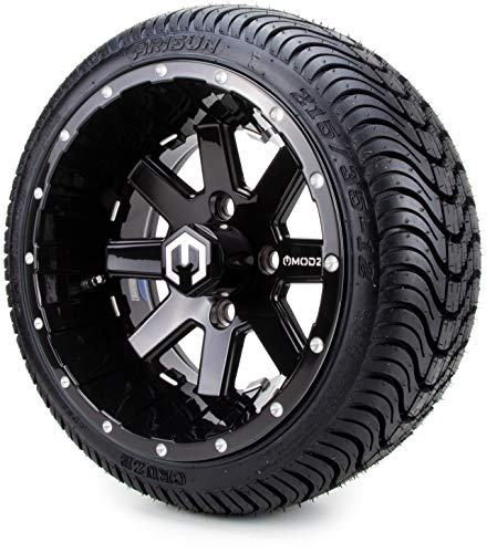 """12"""" MODZ Assault Black Ball Mill Golf Cart Wheels and Low Profile Tires Combo Set of 4"""