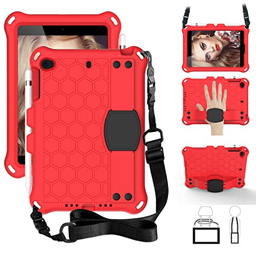 SsHhUu iPad Mini 5 Case for Kids, Shockproof Light Weight Kids Friendly Protective Cover with Pencil Holder, Stand, Shoulder Strap, Hand Strap for iPad Mini 5/4/3/2/1 7.9 Inch - Red/Black