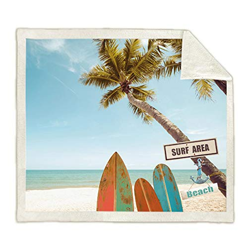 ANHHWW Manta de franela 150x180cm Playa de verano, cocoteros, tablas de surf. Cama de bebé manta de franela para carrito Necesario al mirar televisión