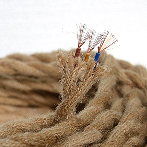 Elektrisches Seil Lichtkabel, 5M / 16,4 Fuß Vintage Seil Draht verdrilltes Kabel Retro geflochtenes antikes industrielles Lampenseil für DIY Pendelleuchte