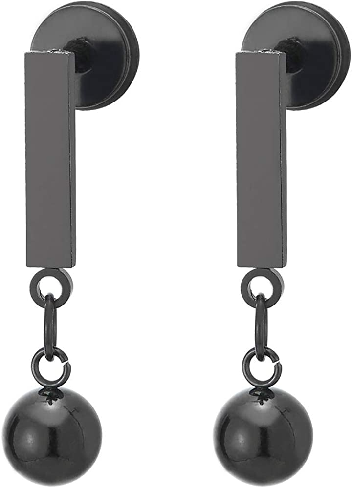 Pair Mens Womens Stainless Steel Black Rectangle Bar Stud Earrings with Dangling Ball, Screw Back