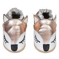 IceUnicorn Baby Lauflernschuhe Jungen Mädchen Weicher Leder Krabbelschuhe Kleinkind Babyhausschuhe Rutschfesten Wildledersohlen(Rose Gold Fox, 12-18 Monate)