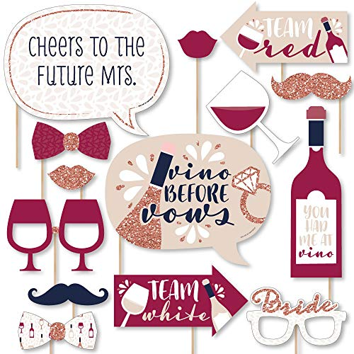 Big Dot of Happiness Vino Before Vows - Winery Bridal Shower or Bachelorette Party Photo Booth Props Kit - 20 Count