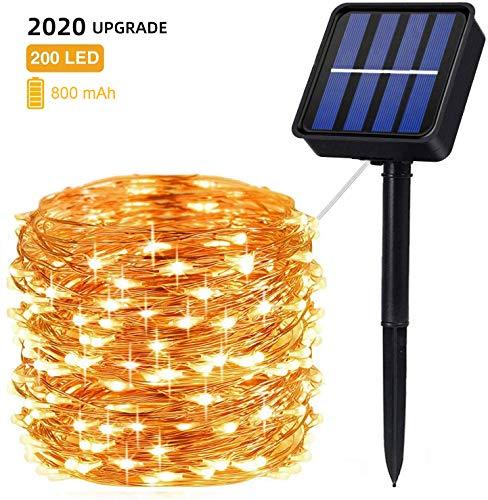 ZWOOS Solar Lichterkette Aussen, 20m 200 LED Lichterketten - Wasserdicht IP65-8 Modi - Warmweiße - Stimmungslicht für Balkon Deko, Terrase, Schaufenster, Hochzeit, Weihnachten