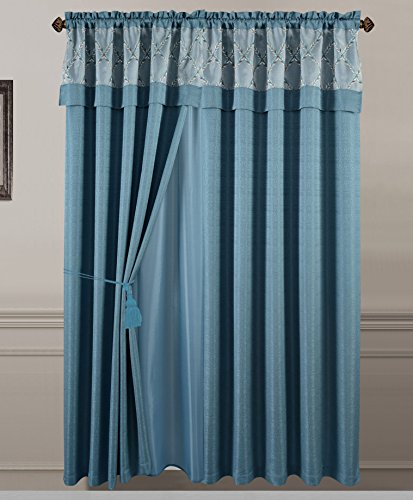 All American Collection New 2 Panel Solid Polyester Curtain with Attached Embroidered Valance and Sheer Backing (Blue)