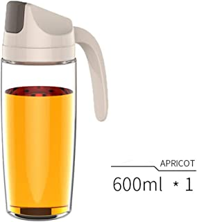 Basic Needs Drip Free Olive Oil Dispenser Bottle with Automatic Cap Easy Pouring Spout for Kitchen,20oz (Apricot)