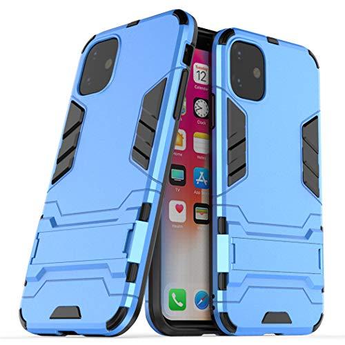 Cover per Apple iPhone 11 (6,1 Pollici) 2 in 1 Hybrid Dual Layer Completamente Shock Resistente Armour con Cavalletto Funzione Custodia (Blu)