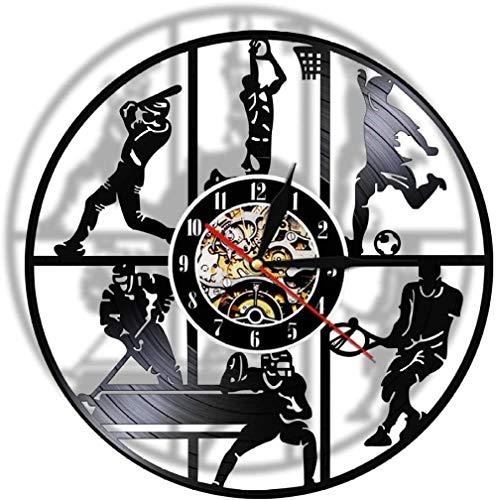 XYLLYT Reloj de Pared 3D de Vinilo de Hockey Deportivo Moderno Reloj de Reloj de Juego de Pelota de Tenis de Baloncesto de béisbol