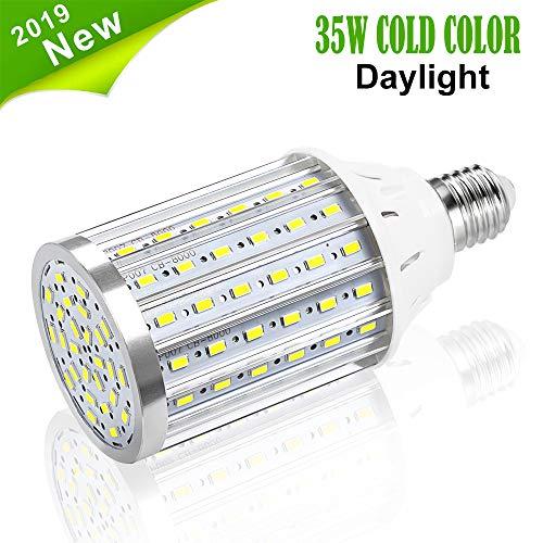 Bombilla de Luz LED Para Maíz, Vaxiuja E27 Bombilla LED Lámpara de Retroalimentación de Alta Potencia, Bombilla LED Reflector de 360 Grados Para garaje Entrada de Auto (Blanco frio, 35W)