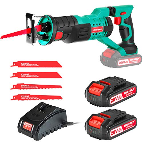HYCHIKA Cordless Reciprocating Saw Sawzall 20V 2Ah 2 Batteries 4 Saw Blades, 0-2800SPM Variable Speed, 7/8' Stroke Length Tool-Free Blade Change LED Light for Wood Metal Cutting Pruning