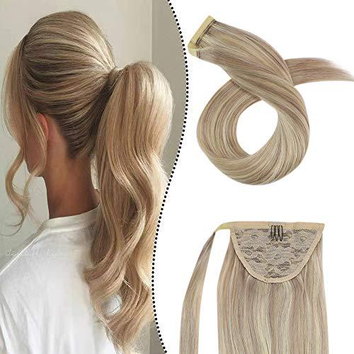 Extensions Pferdeschwanz Echthaar 100% Remy Brasilianer Haarteile Zopf 80GR 20Zoll Clip-in Ponytail Wrap Around Haarverlangerung Easy Fit (Aschblond gemischt Gebleichtes Blond #P18/613)
