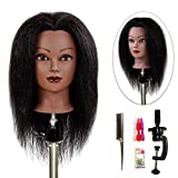 ISHOT Mannequin Head 100% Real Hair Doll Head Beauty School Hair Practice Head Hairdresser Training Head Manikin Cosmetology