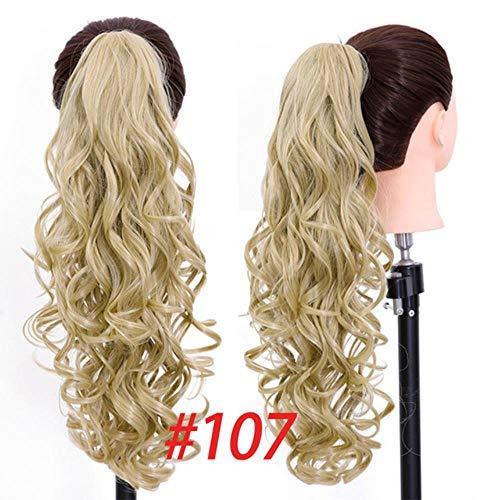 PINGS Griffe sur Queue de Cheval synthétique Clip dans Les Extensions de Cheveux Long Blonde Noir Curly Pony Tail Postiche, 107,24 Pouces
