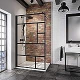 Schulte paroi de douche à l'italienne, Walk In, verre décor sérigraphié Atelier, profilé noir, 90x200 cm